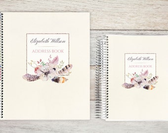 Address Book, Personalized Address Book, Contacts Book, Telephone and Address book, Custom Address Book - Rustic Floral