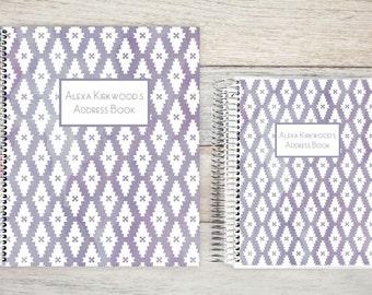 Address Book, Personalized Address Book, Contacts Book, Telephone and Address book, Custom Address Book - Purple Watercolor Pattern