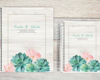 Address Book, Personalized Address Book, Contacts Book, Telephone and Address book, Custom Address Book - watercolor succulents