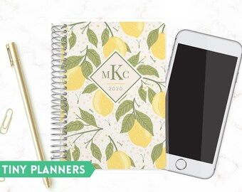 Sturdy Small Planner   Tiny 2020 Planner   Weekly Planner   Pocket Planner   Extra Small Planner   Mini Planner    Monogram   Lemon Vine