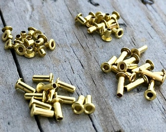 Brass Rivets Grommets Eyelets for EZ Riveter 1/16 size hole 4 different lengths or mix of all lengths Jewelry Supplies