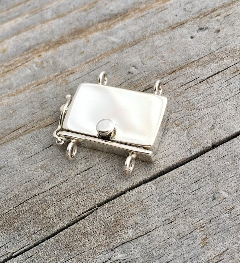 Sterling Silver Box Clasp Two Strands Sterling Silver Jewelry Findings Jewelry Supply
