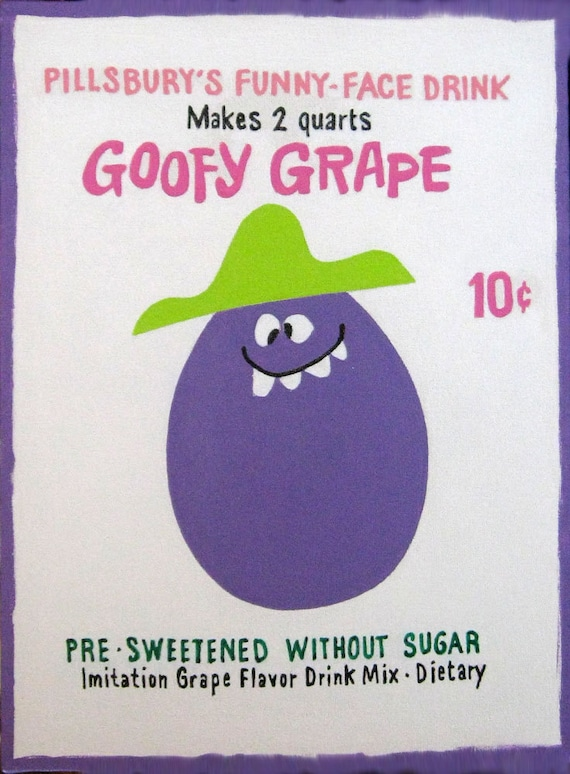Goofy Grape Funny Face Drink Painting Etsy