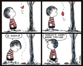 peanuts comic strip paintings from the 50's. 4 panels of linus