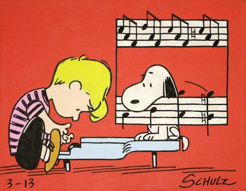 Schroeder Snoopy Peanuts Comic Malerei Aus Den 60er Jahren Etsy