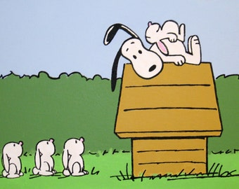 snoopy and the bunnies peanuts comic painting from the 60s