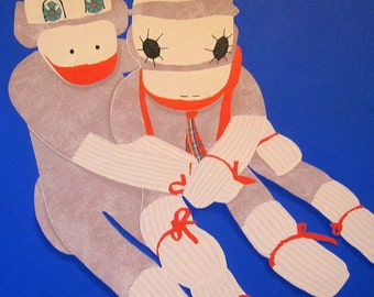 sock monkeys painting on stretched 20 x 24 canvas