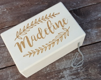 Rustic Jewelry Box - Custom engraved keepsake box - Little Girl Jewelry Box - Flower Girl Gift - Baptism Gift - Personalized Keepsake