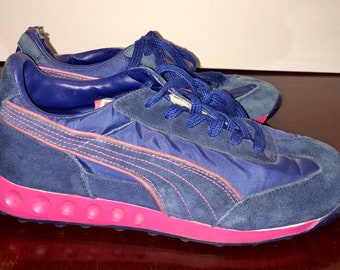 vintage Puma ladies sneakers navy blue and pink fabric and suede tennis  shoes RAD f8c9e6dba