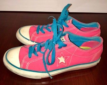 d2329582d9e1fc Vintage retro converse one stars hot pink shoes with white stars and neon  blue stripes and laces low tops size US 6.5
