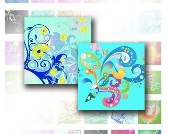 Colorful Swirls digital collage sheet scrabble tile pedant size 1x1 inchies squares for necklaces jewelry making paper supplies altered art digital download (001) BUY 3 GET 1 FREE
