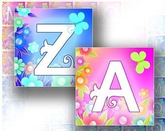 Digital collage Blue and pink alphabet letter monogram 2-in1 scrabble tile pendant size 1x1 and 0.75x0.83 inch squares download image file for necklaces jewelry making paper supplies altered art (062) BUY 3 GET 1 FREE