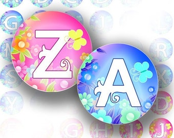 Blue and pink alphabet letter monogram 1 inch circles digital collage sheet bottle cap size for jewelry making paper supplies altered art download file (063) BUY 3 GET 1 FREE