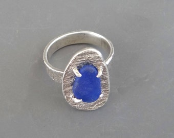 Blue Seaglass and fine silver ring