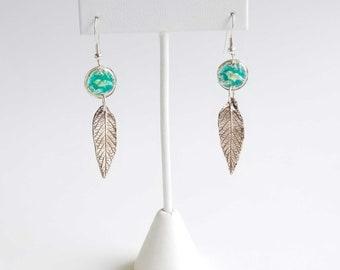 Fine Silver Enamel Bird and Leaf Earrings