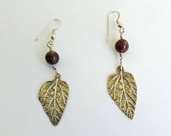 Fine Silver Leaf Drop Earrings