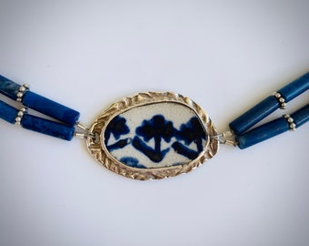 Fine Silver, Chaney and Lapis Bracelet with a sterling silver clasp