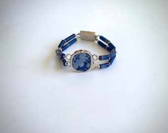 Fine Silver, Chaney and Lapis Bracelet with a sterling silver fish clasp