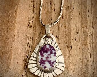Purple Chaney, fine silver, sterling silver, pottery pendant