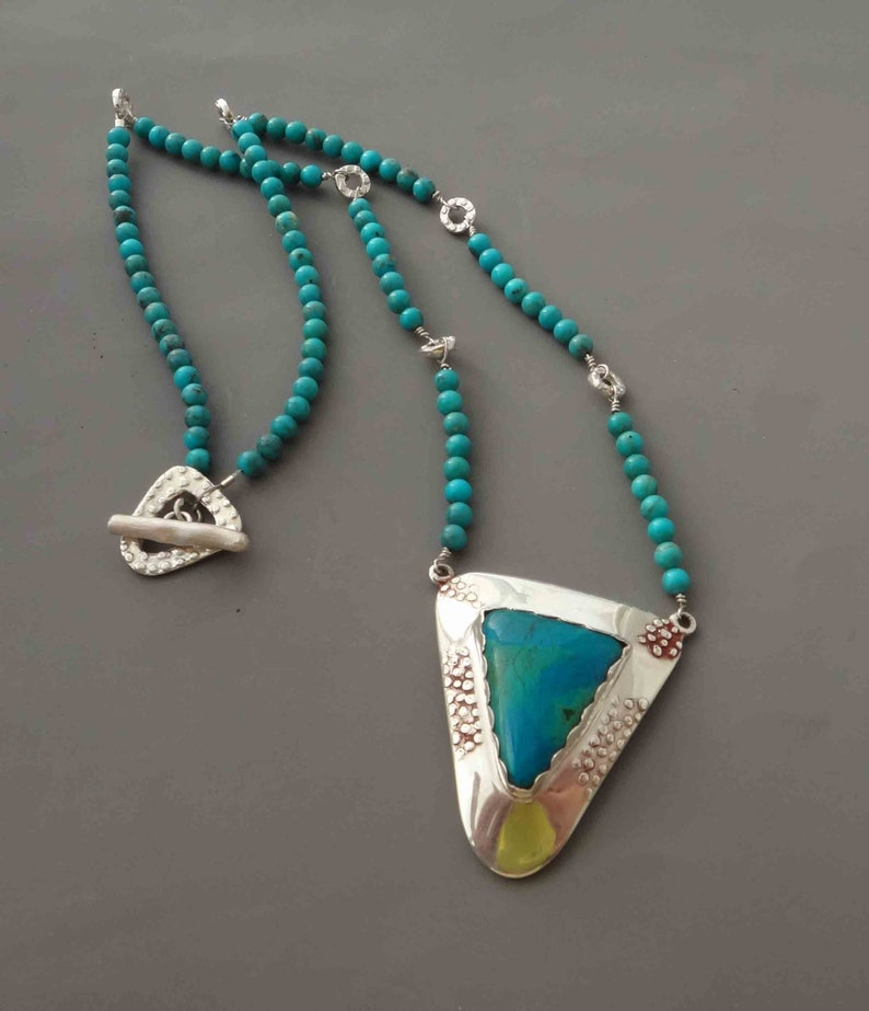 Turquoise Fine Silver and Jasper handmade Necklace image 0