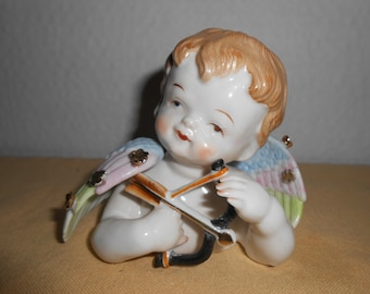Vintage Porcelain Cherub Angel Bust with Conus Shell and Pink Rose