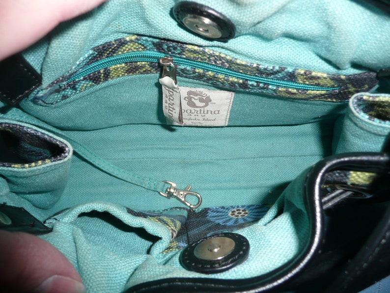 Made in the USA Vintage Spartina 449 Mod Black Blue Green Retro Flower Pattern Linen Drawstring Handbag