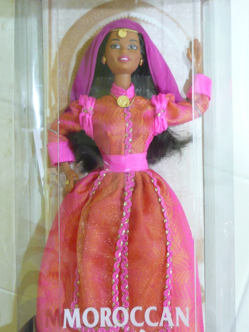 Barbie Fashionista Complete Outfit NIB Off the Shoulder Dress Pink Gold Accents