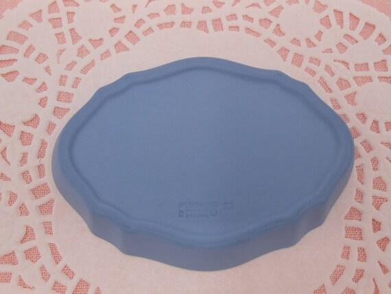Blue Oval Wedgwood Jasperware Trinket Box wAngels