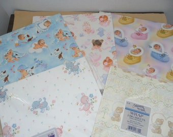 Assortment Of New Vintage New Baby Wrapping Paper ...