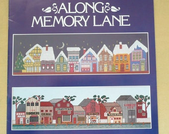 "Gloria & Pat ""Along Memory Lane"" Counted Cross Stitch Village Chart, Cross Stitch Christmas Village, Seaside Village Cross Stitch Chart"