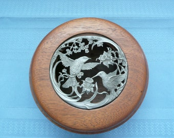 Wooden Pot Pourri Holder with Removeable Pewter Hummingbird Insert, Hand Turned Wooden Bowl