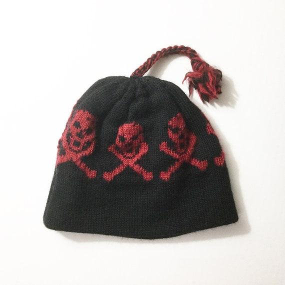 Vtg ski hat vintage ski cap Skull and crossbones wool ski  6318f01ac1e6