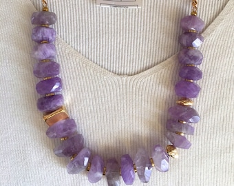 Price was 210:  Ashira Beautiful Rich Large Freeform Amethyst with Gold Station - Gorgeous Statement Necklace