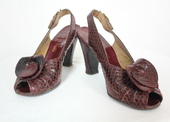 Vintage 1940s Shoes | Wine Snakeskin Peep-Toe Slin
