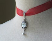 Sparkling Georgian Style Pendant with Red Ribbon, Red Choker, Red Necklace, 18th century jewelry