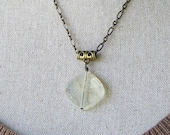Pineapple Quartz and Antiqued Brass Necklace, Quartz Necklace, Quartz jewelry, Quartz Pendant Necklace