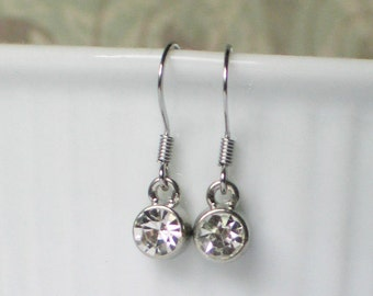 Tiny Sparkling Rhinestone Earrngs