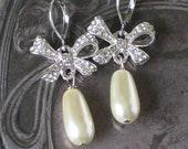 Rhinestone Bow Pearl Earrings, Bow Earrings , 18th century style, Anna Karenina Jewelry