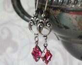 Silver Fleur de Lis Earrings with Vintage Rose Pink Diamond Shaped Rhinestones, 18th century style jewelry, 19th century style jewelry
