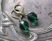 Tourmaline Green, Faceted, Fire Polished Czech Glass Earrings