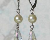 Ivory Pearl and Glass Teardrop Earrings, Bridal Jewelry, Georgian Jewelry
