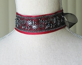 Red, Black and Silver Beaded Choker Claire Outlander Inspired