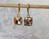 Blush Pink Faceted Glass Earrings, Gold ,Dangle