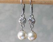 Sparkling Rhinestone and Pearl Earrings, Georgian Jewelry, 18th century jewelry
