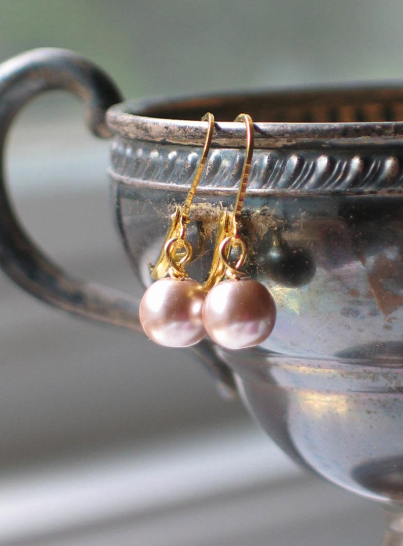 Gold Dusty Pink Pearl Earrings 18th century style jewelry image 0