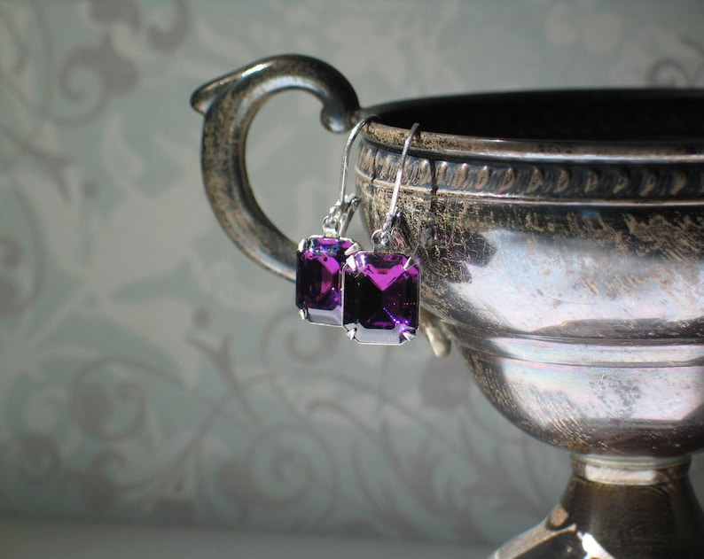 Dark Amethyst Swarovski Earrings in a Silver Ox Setting image 0
