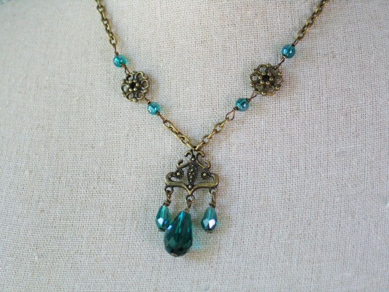 Blue Green Chandelier Necklace 18th century jewelry 19th image 0