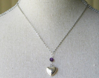 Amethyst Silver Love Heart Necklace