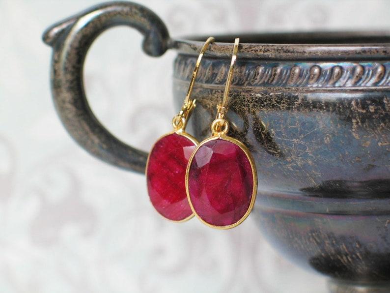 Ruby Bezel Set Earrings Georgian Style jewelry image 0