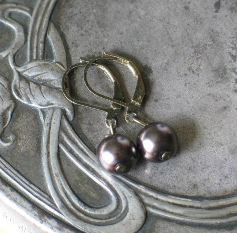 Dark Mocha Glass Pearl Earrings 18th century style jewelry image 0